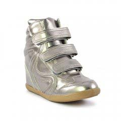 Chaussures femme été 2013 - baskets mode Cafe Moda gris argent