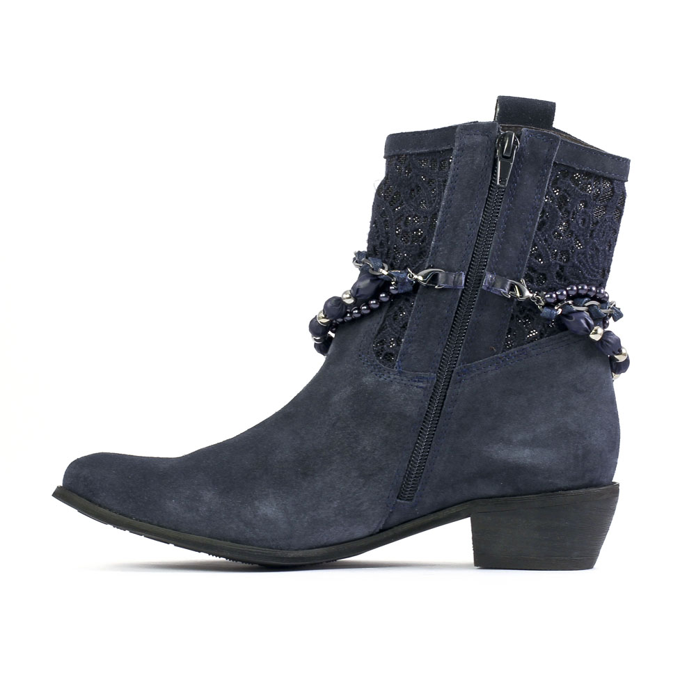 mamzelle quodi velours blue | bottines bleu marine printemps été