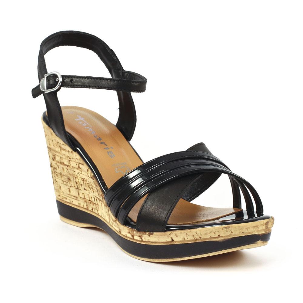 29ff9c358b7394 chaussure compensee semelle liege,sandales noires semelle liege talon  compense beau