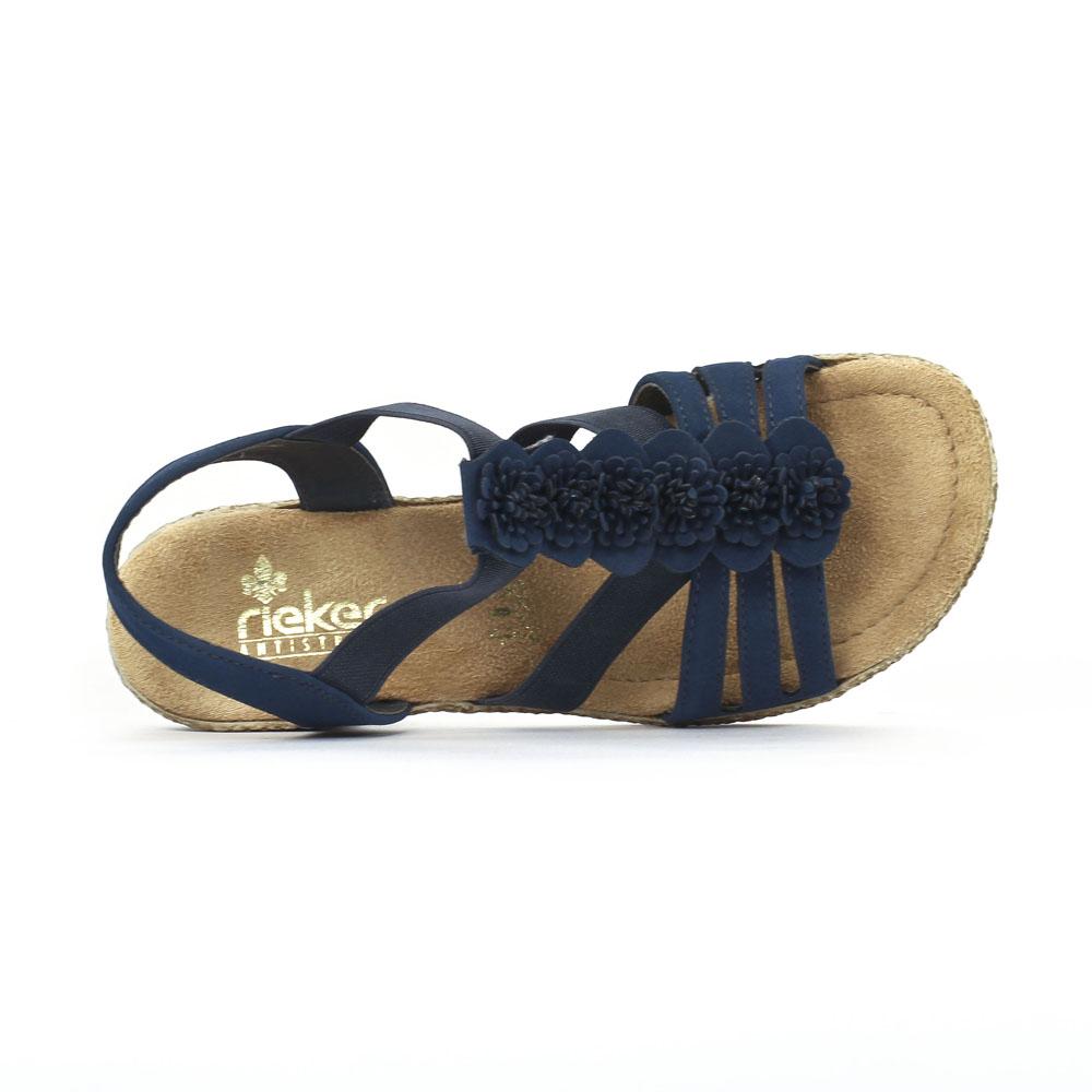 magasin discount énorme réduction capture Rieker 69070 Pacific | sandale semelle corde bleu printemps ...