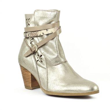 Bottines Et Boots Fugitive Jasper Taupe Python, vue principale de la chaussure femme