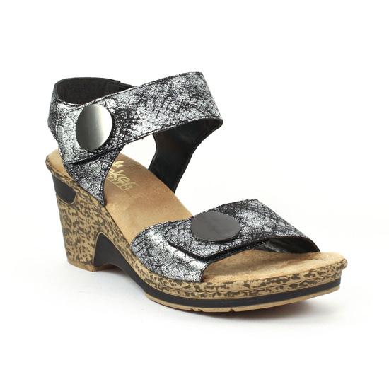 c79a069ca25e12 Nu Pieds Et Sandales Rieker 60663 Altsilber, vue principale de la chaussure  femme