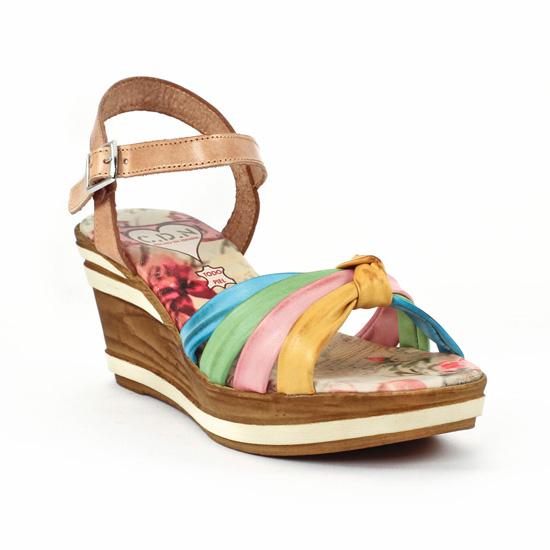 440858a95e4aed Nu Pieds Et Sandales Cdn 3598 Tierra, vue principale de la chaussure femme.  nu-pieds semelle liège multicolore mode ...