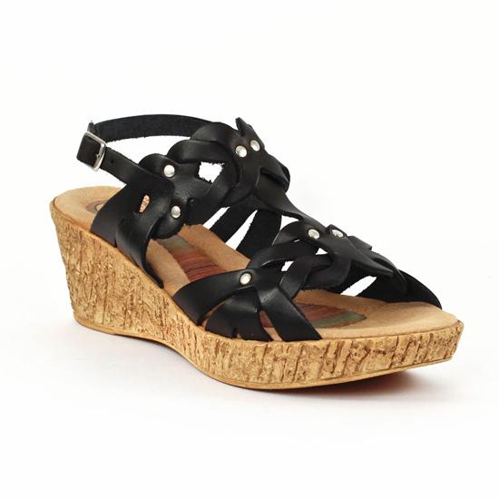 03619106ade906 Nu Pieds Et Sandales Cdn 3502 Noir, vue principale de la chaussure femme.  nu-pieds semelle liège ...