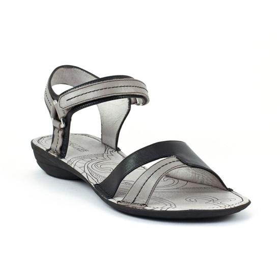 Nu Pieds Et Sandales Fugitive Accra Gris Noir, vue principale de la chaussure femme