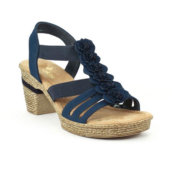 Rieker 69070 Pacific   sandale semelle corde bleu printemps