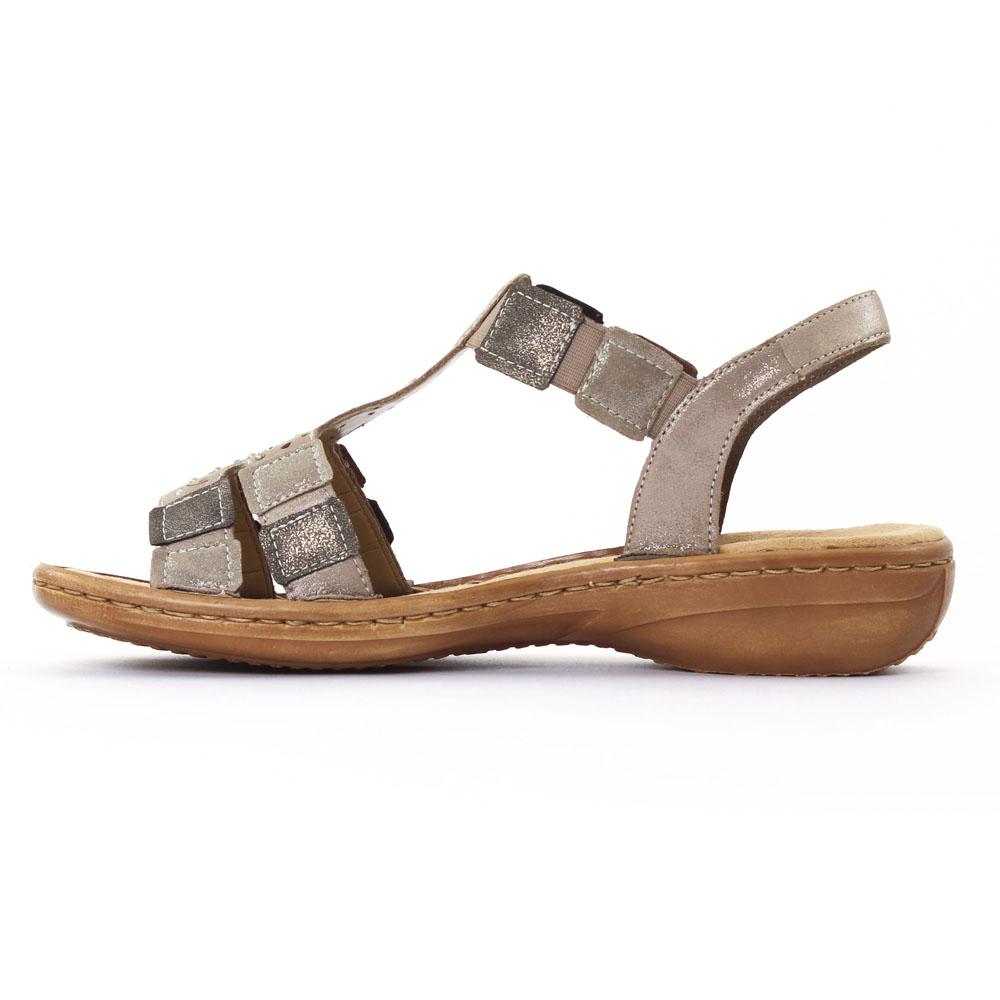 10a8c6b44d30c6 Rieker 608B5 Murmel | sandales beige doré printemps été chez TROIS PAR 3