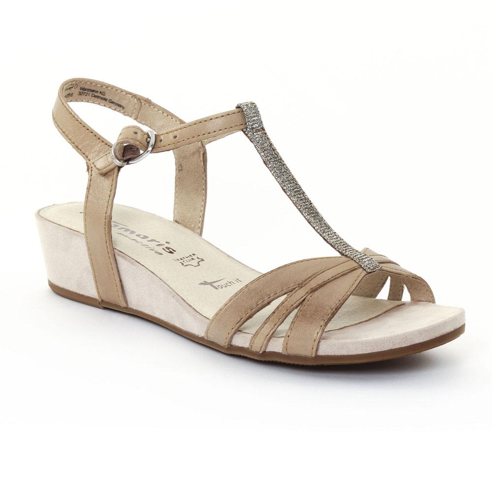tamaris 28202 pepper sandale compens es beige printemps t chez trois par 3. Black Bedroom Furniture Sets. Home Design Ideas