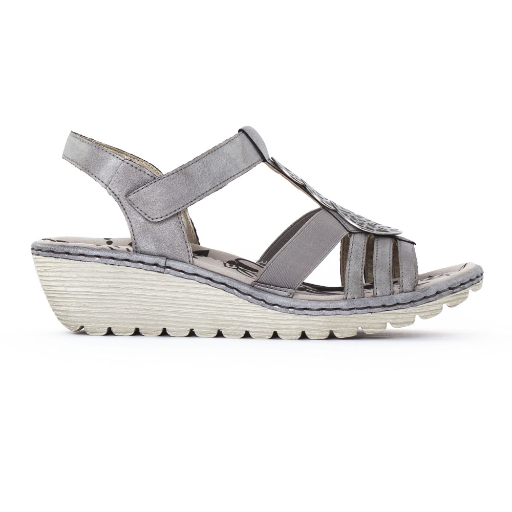 17026a4aad0a6 sandales compensées gris argent mode femme printemps été vue 2