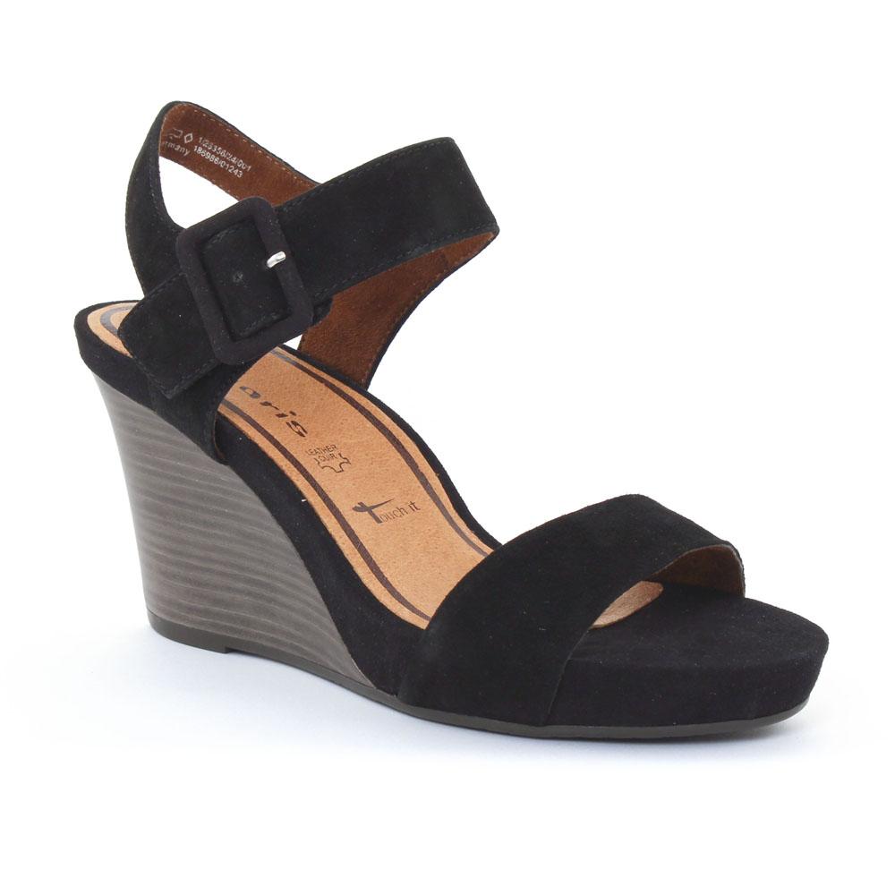 tamaris 28356 black nu pied compens s noir printemps t chez trois par 3. Black Bedroom Furniture Sets. Home Design Ideas