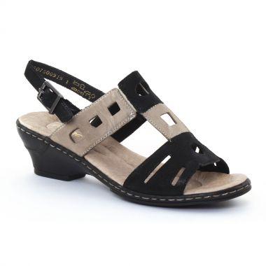Nu Pieds Et Sandales Rieker 62169 Noir, vue principale de la chaussure femme
