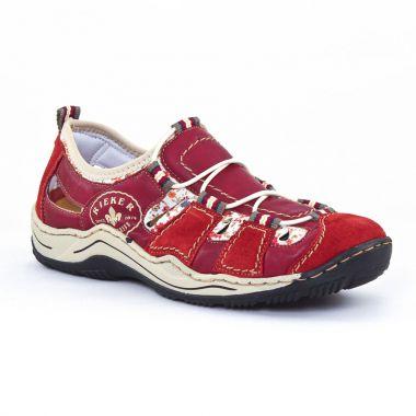 Tennis Et Baskets Mode Rieker L0556 rouge, vue principale de la chaussure femme