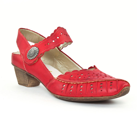 Escarpins Rieker 49777 Rouge, vue principale de la chaussure femme