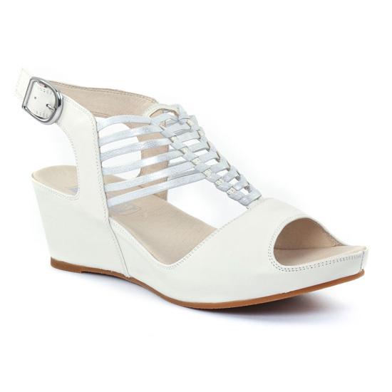 edf627e1d012a2 Nu Pieds Et Sandales Mamzelle Dylan Blanc, vue principale de la chaussure  femme. nu-pieds compensés blanc cassé mode femme printemps été ...
