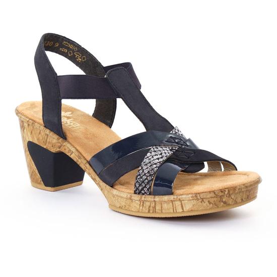 Nu Pieds Et Sandales Rieker 69759 Marine, vue principale de la chaussure femme