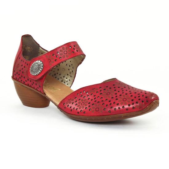 Nu Pieds Et Sandales Rieker 43711 Rouge, vue principale de la chaussure femme