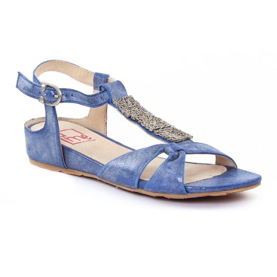 ume matin d 39 t alyssa denim sandale compens es bleu printemps t chez trois par 3. Black Bedroom Furniture Sets. Home Design Ideas