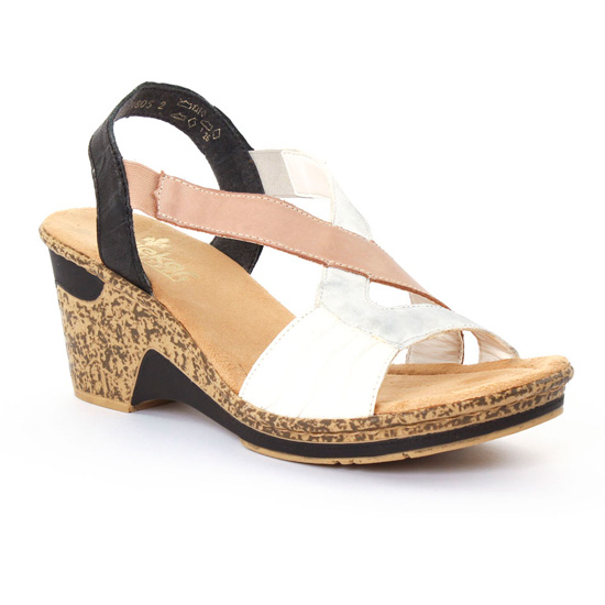 Nu Pieds Et Sandales Rieker 60660 Weiss, vue principale de la chaussure femme