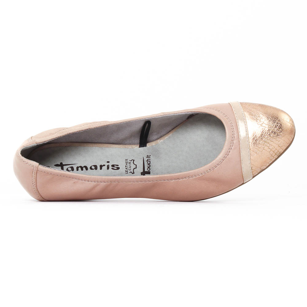 Tamaris 22200 Rose | ballerine talon rose doré printemps été