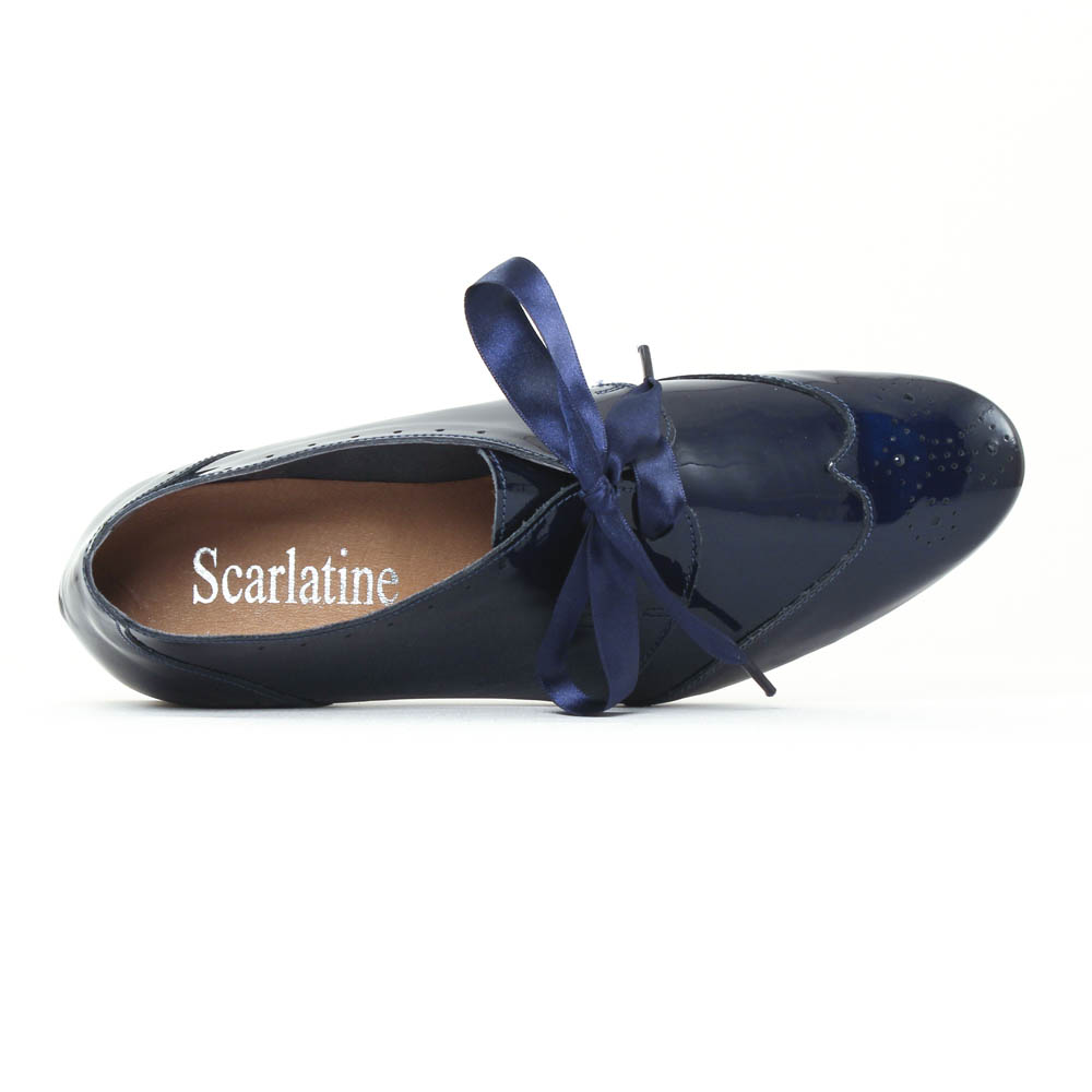 Scarlatine 8554e marine derbys vernis bleu marine - Lacet ruban pour chaussure ...