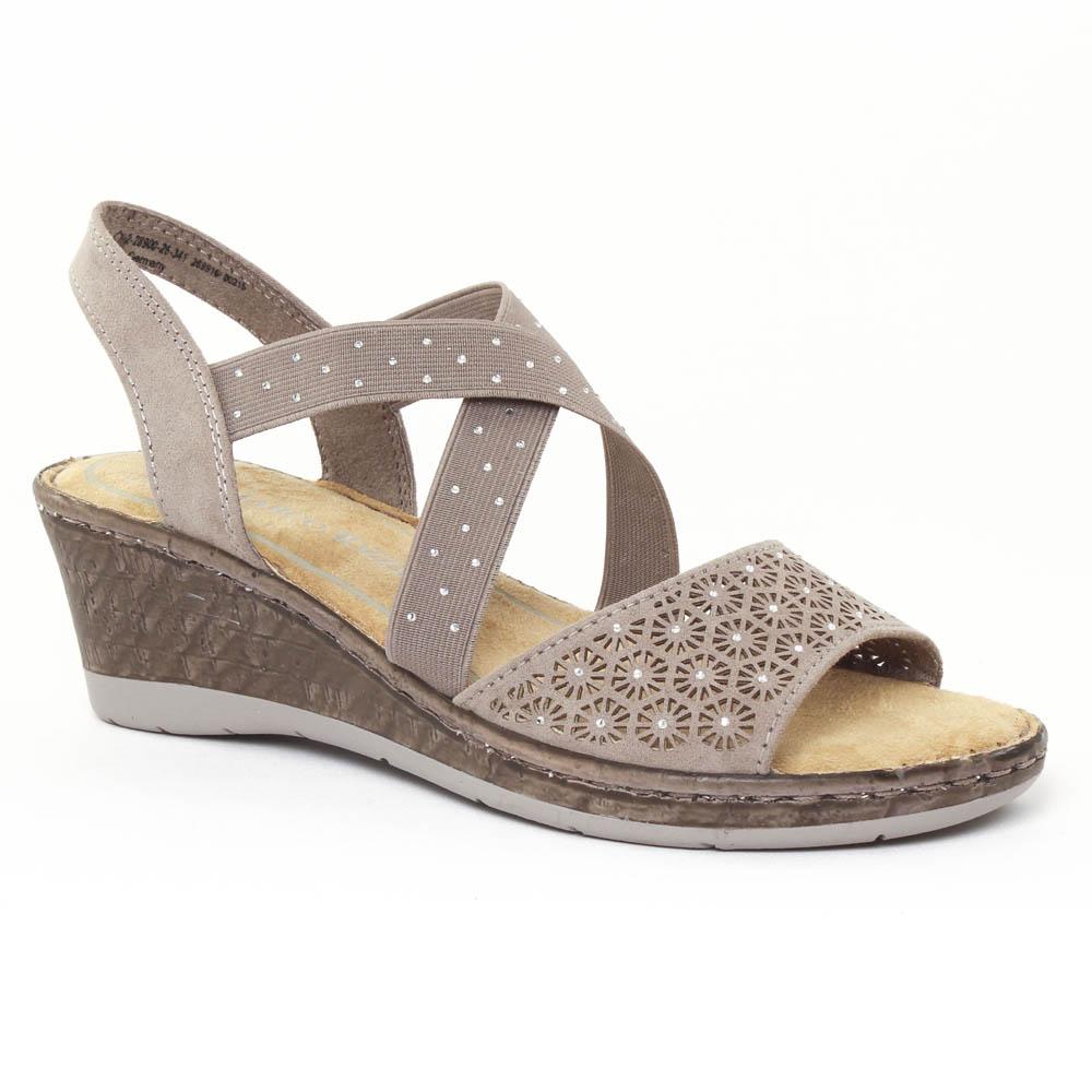 nu pieds compensés beige mode femme printemps été vue 1