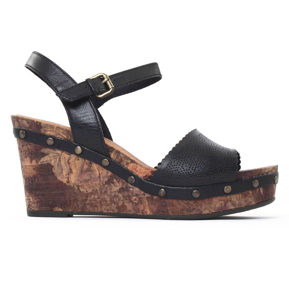 nu pieds compensés noir mode femme printemps été vue 2