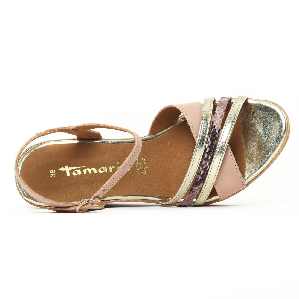 Tamaris 28394 Ivoire | nu pied compensés rose printemps été