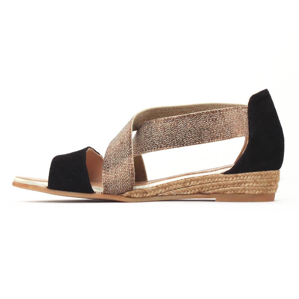 0ee8bdb33e7155 Gaimo Nover Noir Bronze | sandale semelle corde noir doré printemps ...