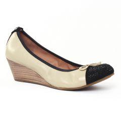 ballerines-talons-compenses beige noir: même style de chaussures en ligne pour femmes que les Tamaris