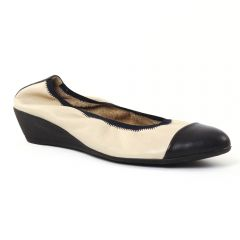 ballerines-talons-compenses beige noir: même style de chaussures en ligne pour femmes que les Marco Tozzi