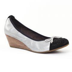 ballerines-talons-compenses gris argent noir: même style de chaussures en ligne pour femmes que les Tamaris
