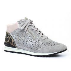 Chaussures femme été 2016 - baskets mode rieker gris argent rose
