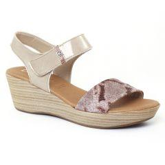 Chaussures femme été 2016 - nu-pieds compensés Dorking beige python