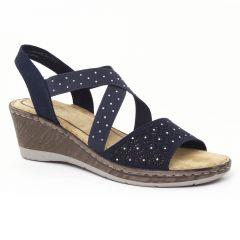 nu-pieds-talons-compenses bleu: même style de chaussures en ligne pour femmes que les Mamzelle