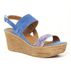 nu-pieds-talons-compenses bleu: même style de chaussures en ligne pour femmes que les Dorking