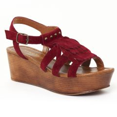 nu-pieds-talons-compenses bordeaux: même style de chaussures en ligne pour femmes que les Mamzelle