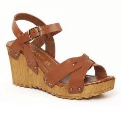 nu-pieds-talons-compenses marron: même style de chaussures en ligne pour femmes que les Mamzelle