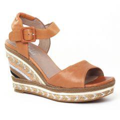 Chaussures femme été 2016 - nu-pieds compensés Mamzelle marron orangé
