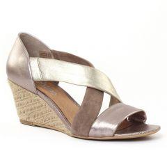 nu-pieds-talons-compenses mauve doré: même style de chaussures en ligne pour femmes que les Khrio