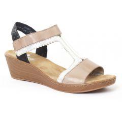 Chaussures femme été 2016 - nu-pieds compensés rieker noir beige argent