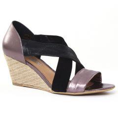 nu-pieds-talons-compenses noir mauve: même style de chaussures en ligne pour femmes que les Rieker