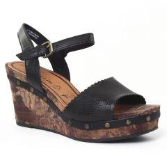 Chaussures femme été 2016 - nu-pieds compensés tamaris noir