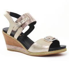Fugitive Ixou Metal Taupe : chaussures dans la même tendance femme (nu-pieds-talons-compenses or doré) et disponibles à la vente en ligne