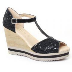 Chaussures femme été 2016 - nu-pieds compensés Dorking paillette noir