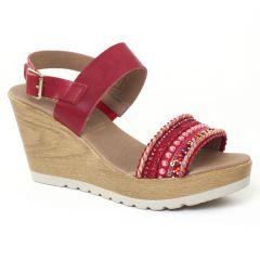 Chaussures femme été 2016 - nu-pieds compensés Dorking rouge