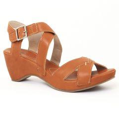 nu-pieds marron: même style de chaussures en ligne pour femmes que les Khrio