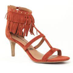 nu-pieds-talons-hauts orange rouge: même style de chaussures en ligne pour femmes que les Khrio