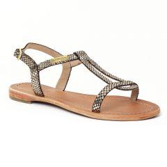 sandales noir doré: même style de chaussures en ligne pour femmes que les Tamaris
