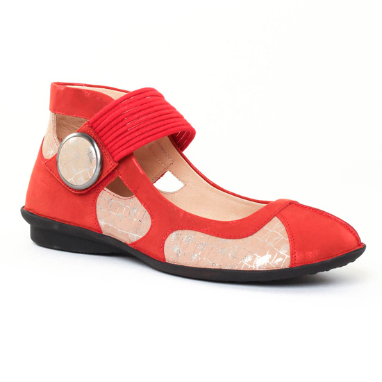 Ballerines Fugitive Uffy Metal Rouge, vue principale de la chaussure femme