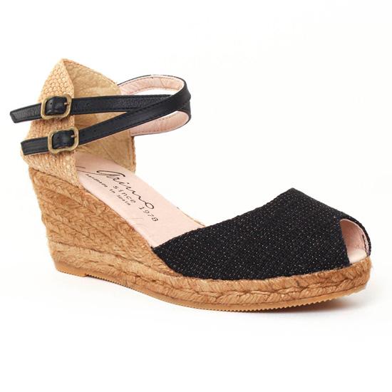 c7b9d50be089c0 Espadrilles Gaimo Grisa Noir, vue principale de la chaussure femme. espadrilles  compensées ...